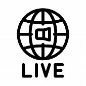 World Wide Live Podcast Icon Vector. Outline World Wide Live Podcast Sign. Isolated Contour Symbol I poster