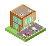 Isometric Hardware Store. Location With 3d Building People Parking Cars. Hardware Store Vector Illus poster