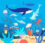Underwater. Cute Undersea Animals, Cartoon Sea Wildlife. Happy Aquarium Habitat, Oceanic Fishes And  poster