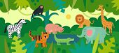 Jungle With Animals. Zebra, Monkey And Hippo, Tiger And Crocodile, Elephant And Lion, Giraffe With T poster