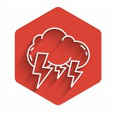 White Line Storm Icon Isolated With Long Shadow. Cloud And Lightning Sign. Weather Icon Of Storm. Re poster