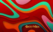 Multicolored Paper Cut Background. Abstract Realistic Papercut Decoration With Wavy Layers And Engra poster