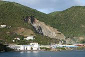 The Industrial View Of A Gravel-pit In Road Town On Tortola Island (british Virgin Islands). poster