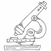 Microscope Icon. Vector Illustration Of A Microscope. Hand Drawn Microscope. poster