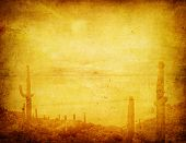picture of wild west  - highly detailed grunge background with wild west landscape - JPG