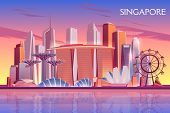 Singapore Evening, Morning Skyline With Futuristic Skyscraper Buildings On City Bay Illuminated With poster