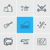 Vector Illustration Of 9 Activities Icons Line Style. Editable Set Of Djing, Drums, Copter And Other poster
