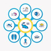 Vector Illustration Of 9 Nautical Icons Colored Line. Editable Set Of Flip Flops, Prawn, Squid And O poster