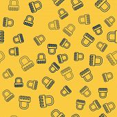 Blue Line Safe Combination Lock Icon Isolated Seamless Pattern On Yellow Background. Combination Pad poster