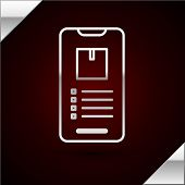 Silver Line Mobile Smart Phone With App Delivery Tracking Icon Isolated On Dark Red Background. Parc poster