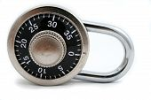 stock photo of combination lock  - isolated combination lock - JPG