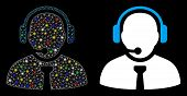 Glossy Mesh Support Manager Icon With Sparkle Effect. Abstract Illuminated Model Of Support Manager. poster