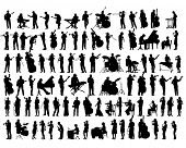 Jazz musicians with instruments on stage. Isolated silhouettes of people on a white background poster