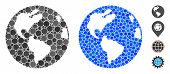 Earth Composition Of Round Dots In Different Sizes And Shades, Based On Earth Icon. Vector Round Dot poster