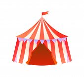 Circus Tent Vector, Isolated Amusement Park Attraction Performance With Clowns, Entrance In Shuttle  poster