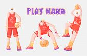 Vector Flat Collection Of Basketball Players. Man Playing In Basketball, Throwing A Ball Into Basket poster