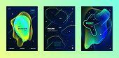 Electronic Music Festival. Dj Poster. Dark Minimal Banner. Yellow 3d Flow Lines. Music Festival. Tre poster
