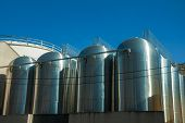 Stainless Steel Storage Tanks For Grape Juice Or Wine Production, At The Aurora Winery Facilities In poster