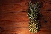 Ripe Pineapple On Wooden Background. Healthy Food Ingredients, Tropical Fruits, Diet, Slimming Vegan poster