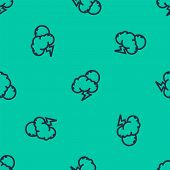 Blue Line Storm Icon Isolated Seamless Pattern On Green Background. Cloud With Lightning And Sun Sig poster