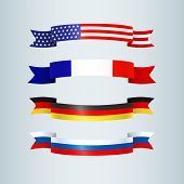 Flag Ribbon Of America Usa France Germany Russia Set Collection Of Bright Curved Banner Ribbons Icon poster