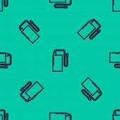 Blue Line Power Bank With Different Charge Cable Icon Isolated Seamless Pattern On Green Background. poster