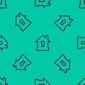 Blue Line House Under Protection Icon Isolated Seamless Pattern On Green Background. Protection, Saf poster