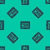 Blue Line Laptop With App Delivery Tracking Icon Isolated Seamless Pattern On Green Background. Parc poster