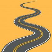 Winding Road Vector Highway Path Long Street Asphalt Isolated Perspective Road Way Journey Illustrat poster