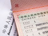 Chinese Visa In An International Passport. Translation Text: visa Application Form. Fragment Of A  poster