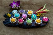 A Variety Of Elegantly Beautiful Thai Desserts (khanom Wan Thai) Colorful Variations Serving In A Da poster