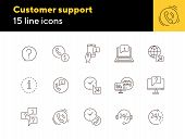 Customer Support Line Icon Set. Telephone, Computer, Speech Bubble With Question Mark, Call Center O poster