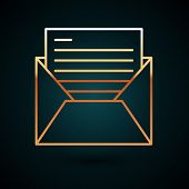 Gold Line Mail And E-mail Icon Isolated On Dark Blue Background. Envelope Symbol E-mail. Email Messa poster