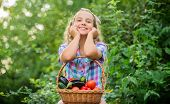 Healthy Lifestyle. Kid Hold Basket With Vegetables Nature Background. Eco Farming. Eat Healthy. Summ poster