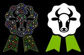 Glowing Mesh Cow Award Seal Icon With Glare Effect. Abstract Illuminated Model Of Cow Award Seal. Sh poster