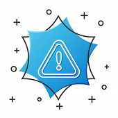 White Line Exclamation Mark In Triangle Icon Isolated On White Background. Hazard Warning Sign, Care poster