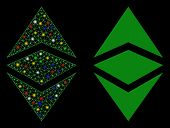 Glossy Mesh Ethereum Classic Icon With Glare Effect. Abstract Illuminated Model Of Ethereum Classic. poster