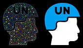 Bright Mesh United Nations Soldier Helmet Icon With Sparkle Effect. Abstract Illuminated Model Of Un poster