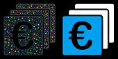 Flare Mesh Euro Finances Icon With Lightspot Effect. Abstract Illuminated Model Of Euro Finances. Sh poster
