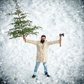 Merry Christmas And Happy Holidays. Winter Emotion. Winter Portrait Of Lumber In Snow Garden Cutting poster