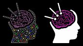 Bright Mesh Brain Autopsy Icon With Lightspot Effect. Abstract Illuminated Model Of Brain Autopsy. S poster