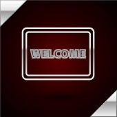 Silver Line Doormat With The Text Welcome Icon Isolated On Dark Red Background. Welcome Mat Sign. Ve poster