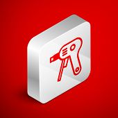 Isometric Line Electric Hot Glue Gun Icon Isolated On Red Background. Hot Pistol Glue. Hot Repair Wo poster