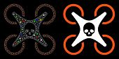 Glowing Mesh Mortal Drone Icon With Glow Effect. Abstract Illuminated Model Of Mortal Drone. Shiny W poster