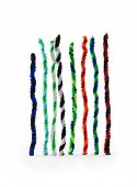 Twisted pipe cleaners in two tone twists, isolated on white, standing up like bar graphs.  poster