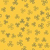 Blue Line Radioactive Icon Isolated Seamless Pattern On Yellow Background. Radioactive Toxic Symbol. poster