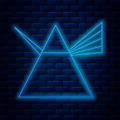 Glowing Neon Line Light Rays In Prism Icon Isolated On Brick Wall Background. Ray Rainbow Spectrum D poster