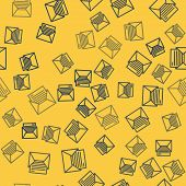 Blue Line Mail And E-mail Icon Isolated Seamless Pattern On Yellow Background. Envelope Symbol E-mai poster