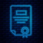 Glowing Neon Line Certificate Template Icon Isolated On Brick Wall Background. Achievement, Award, D poster