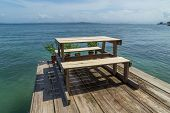 Wood Caribbean porch over the water, Bocas del Toro, Panama poster